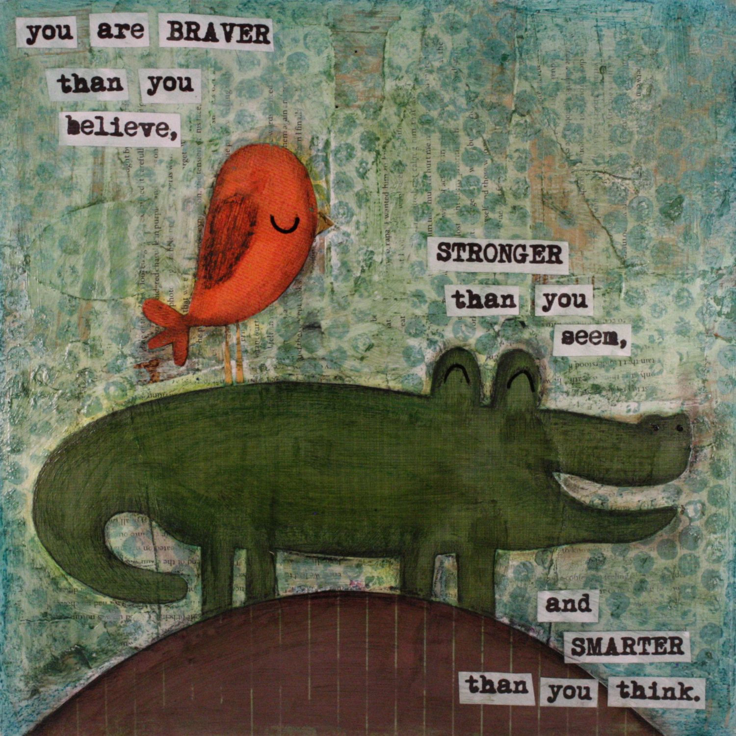 Original collage  Bird and Alligator by beebrightdesigns on Etsy, $45.00