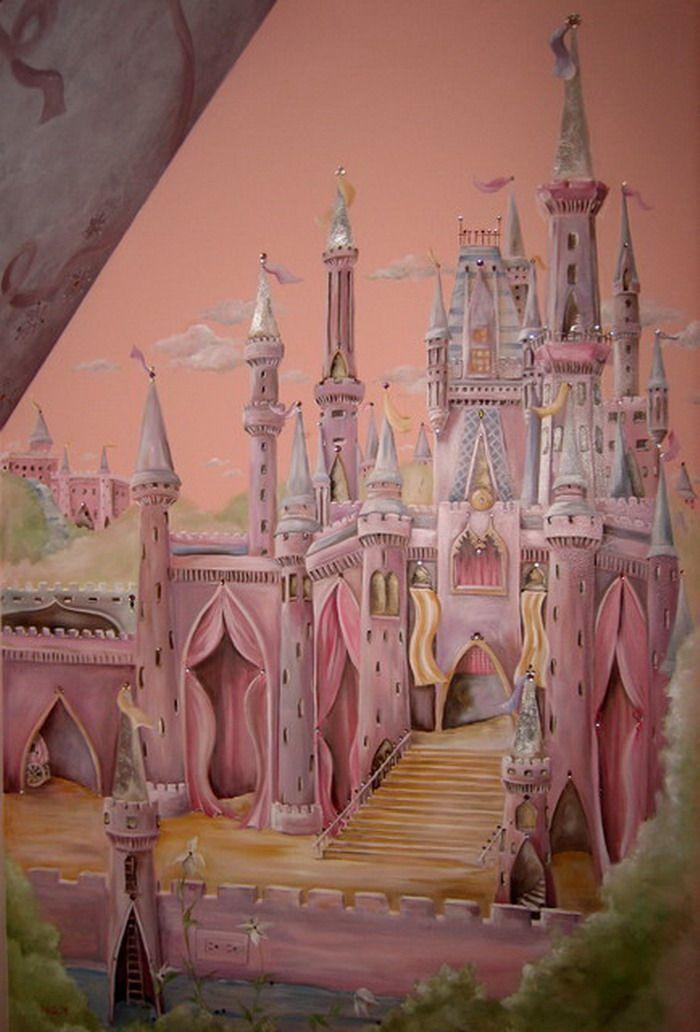 Girls Room Ideas With Castle Mural Decor Wallpaper Mural Ideas