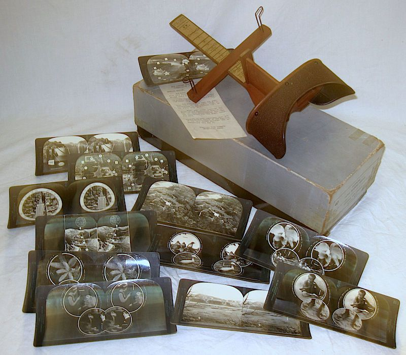 Vintage Keystone model 40 Stereoscope Viewer with 12 cards and box, Hoover Dam