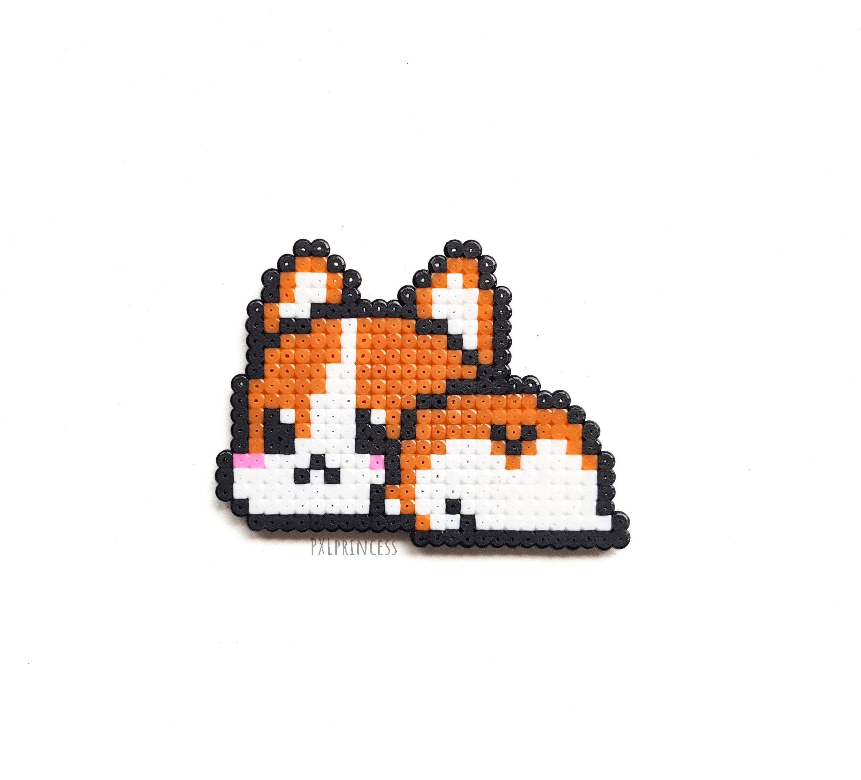 Corgi Butt magnet Pixel art Corgi dog 8 bit chibi furry magnet Hama Perler beads kawaii gift