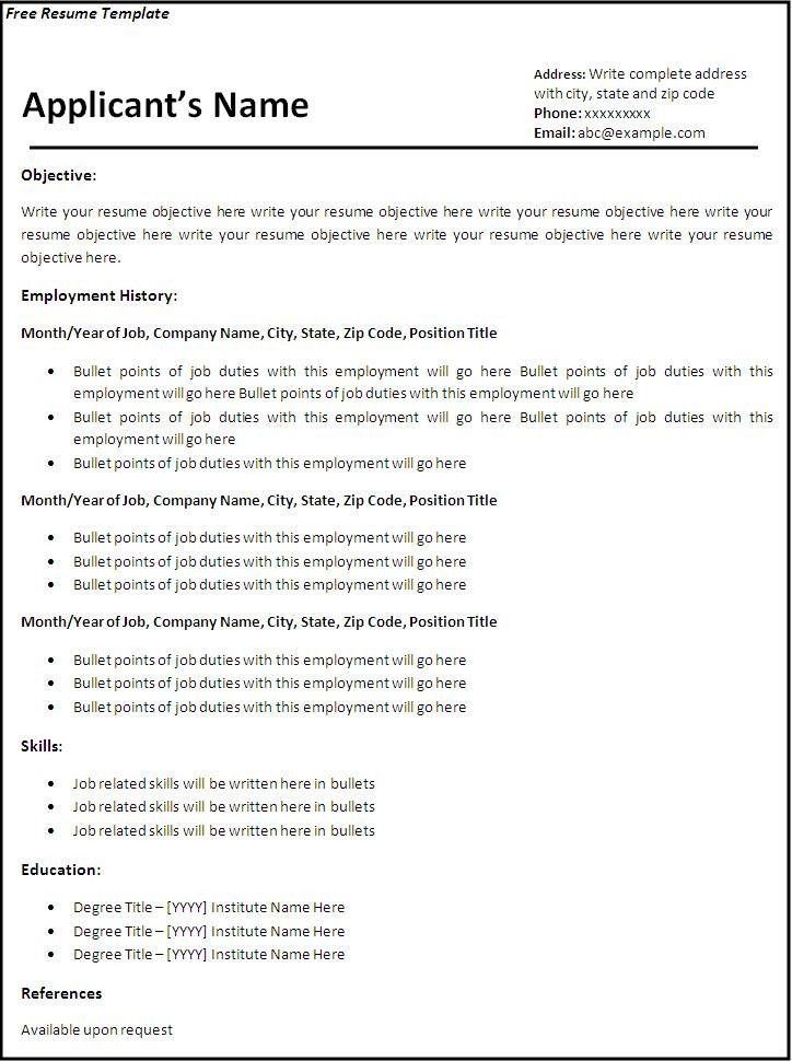 Free Curriculum Vitae Blank Template - http\/\/jobresumesample - high school resume template microsoft word