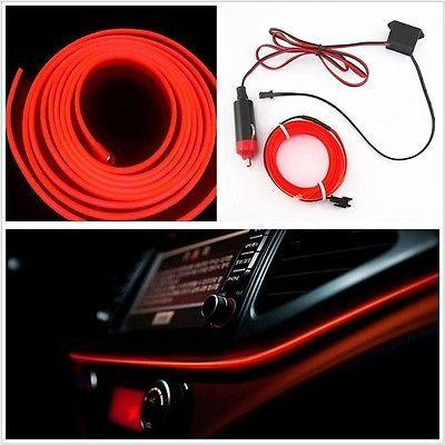 Kit! 5m 12v el-wire car interior #decor fluorescent neon #strip ...