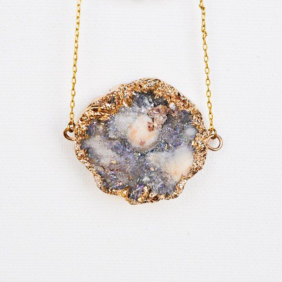 24K Gold Lavender Druzy Necklace By WildAirCo On Etsy
