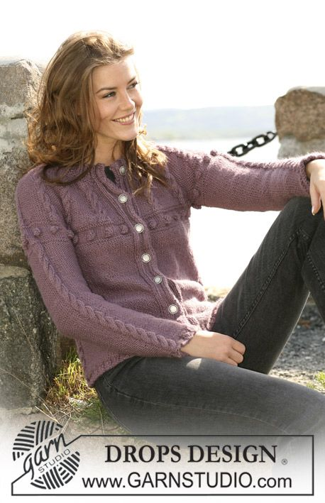 """DROPS 102-29 - DROPS jacket in """"Silke-Alpaca"""" with cables Size S to XXXL. - Free pattern by DROPS Design"""