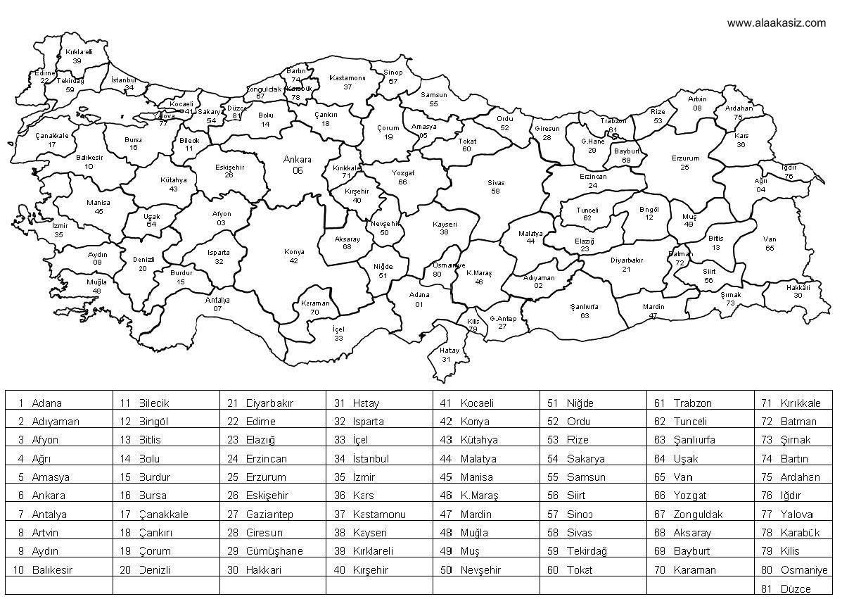 Www Alaakasiz Com Safak Haritasi Safak Sayar Turkiye Haritasi Ve Il Plaka Kodlari 2020 Fiziki Cografya Harita Ogretim