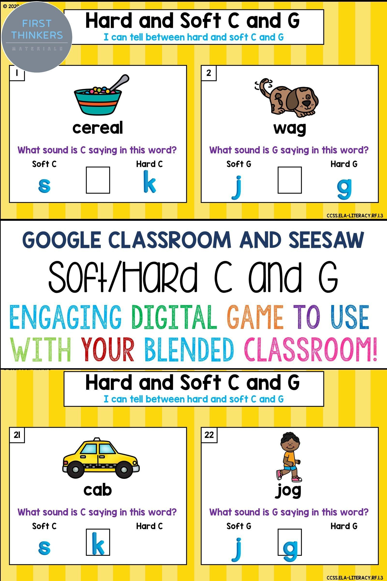 Hard and Soft C and G Google Slides Seesaw Phonics Game Printable Worksheets  in 2021   Phonics games [ 2400 x 1600 Pixel ]