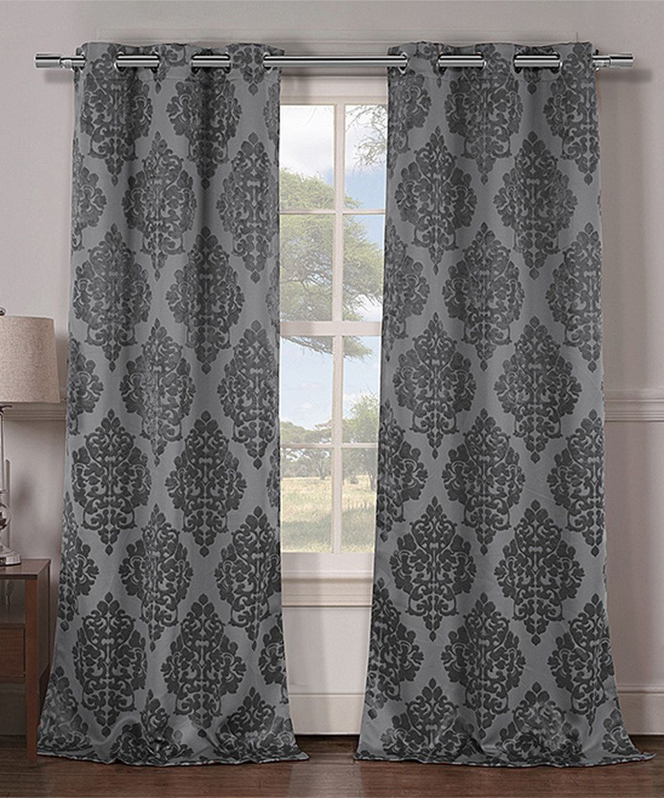 Pair Grey And White Traditions Damask Curtain Panels Drapes