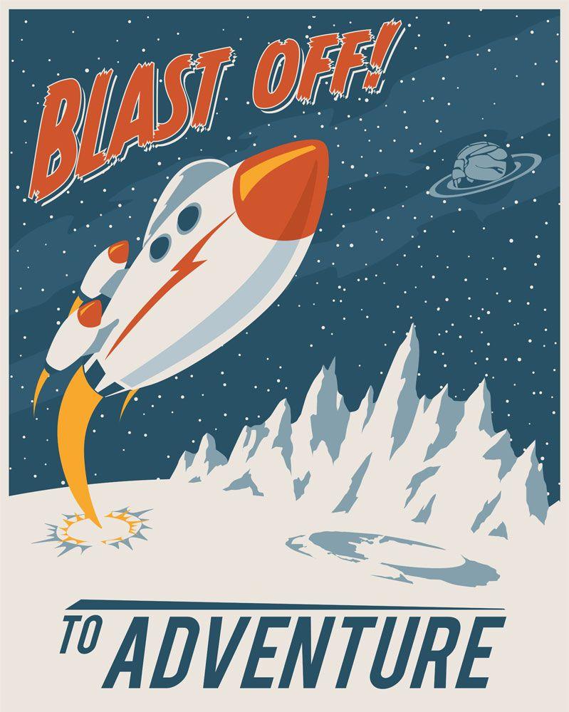 Blast Off To Adventure Vintage Art Prints Modern Vintage Art Science Fiction Art