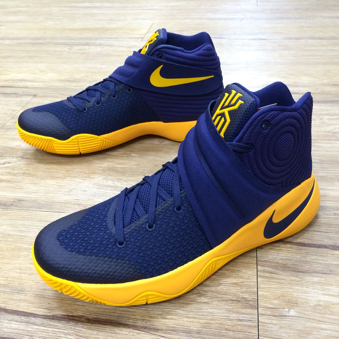 6557e5ff1f49 Nike Kyrie 2 EP II Irving Cavs Playoffs PE Navy Gold Mens Basketball  820537-447