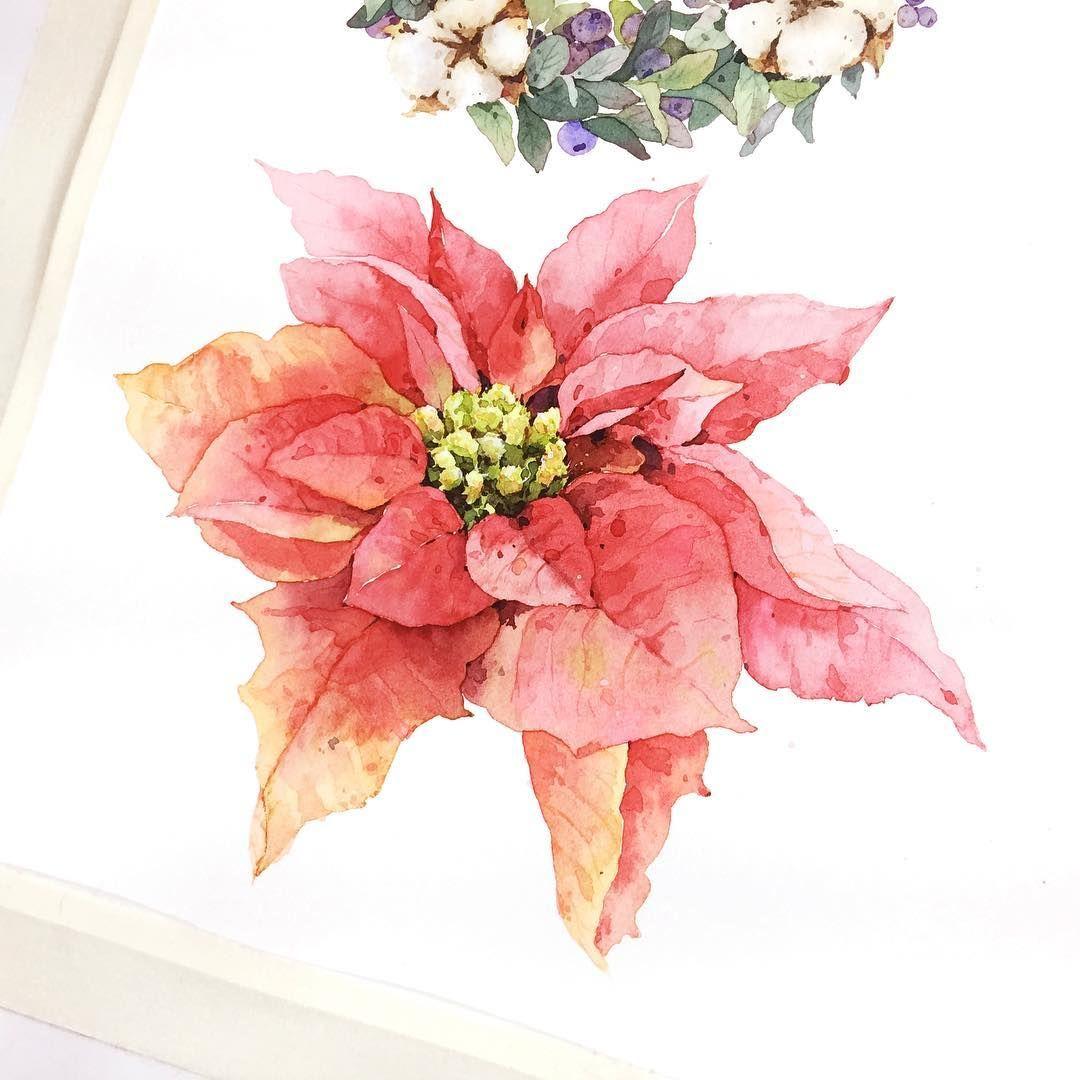 신랑이 얼마 전 생일 때 사다준 장미 꽃다발 지금은 엄청 이쁘게 말랐어요 수채화 장미 꽃다발 일러스트 손그림 부산 해운대 취미미술 성인미술 보태니컬아트 Watercolor Watercolour Painting 그림 크리스마스 카드 수채화