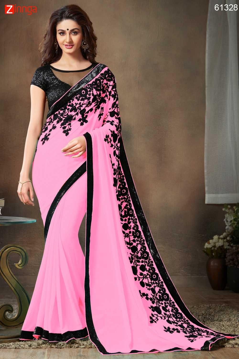 faef4b7c95 Embroidered Pallu Saree in Rose Pink Color Message/call/WhatsApp at  +91-9246261661 or Visit www.zinnga.com