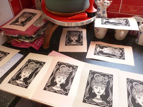 The Cat Lady Limited Edition Linocut Print by Felinethropy on Etsy