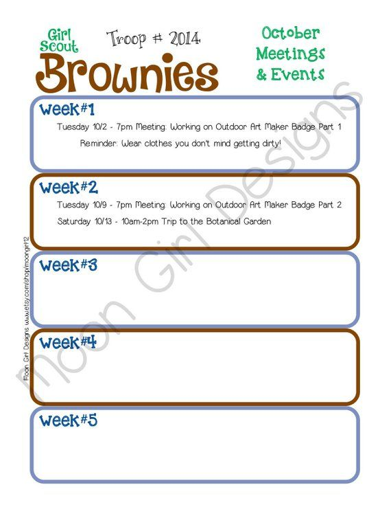 Brownie Monthly Activity Calendar Girl Scouts Editable Printable PDF