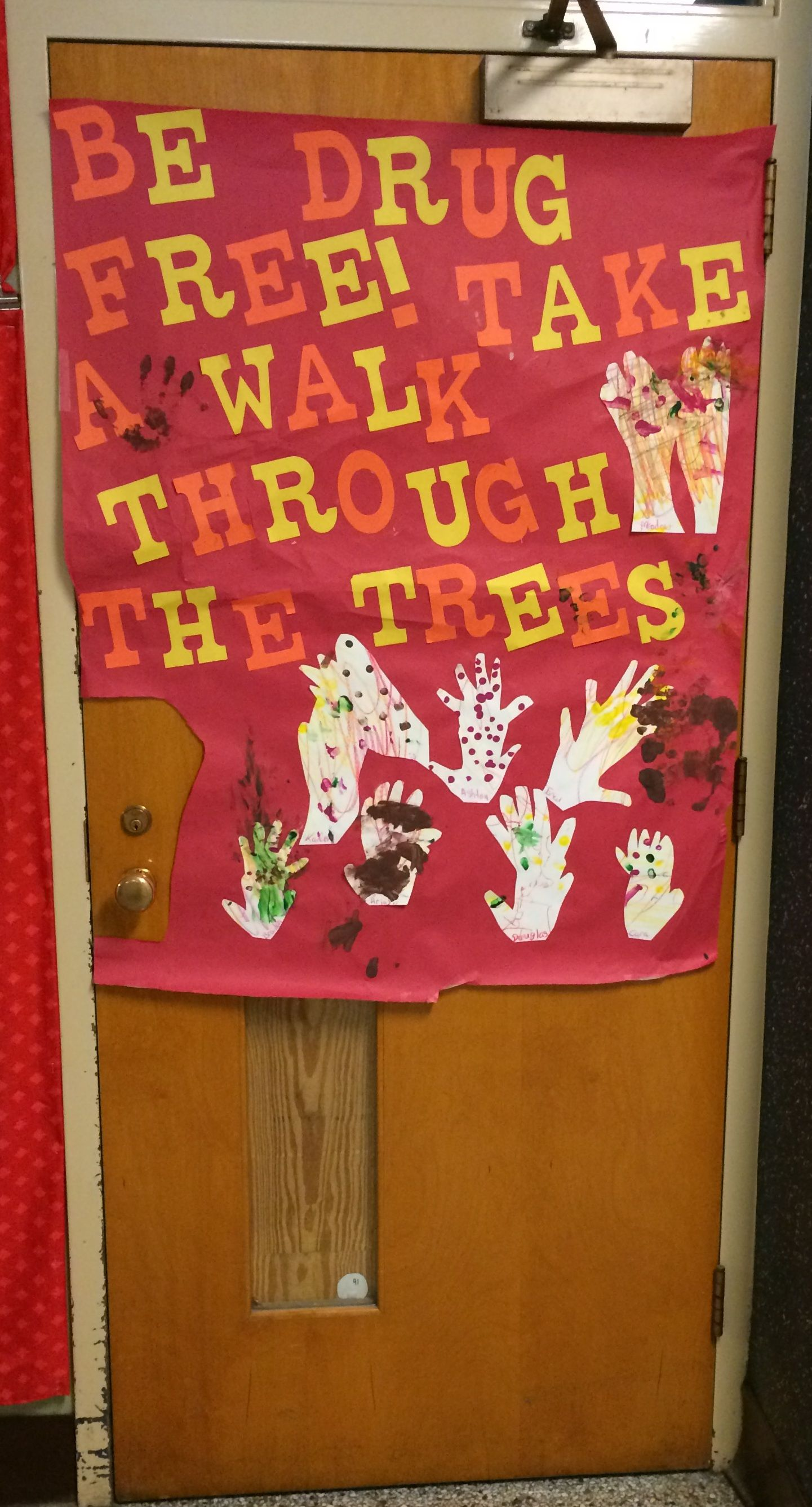Be Drug Free Take A Walk Through The Trees Red Ribbon Door