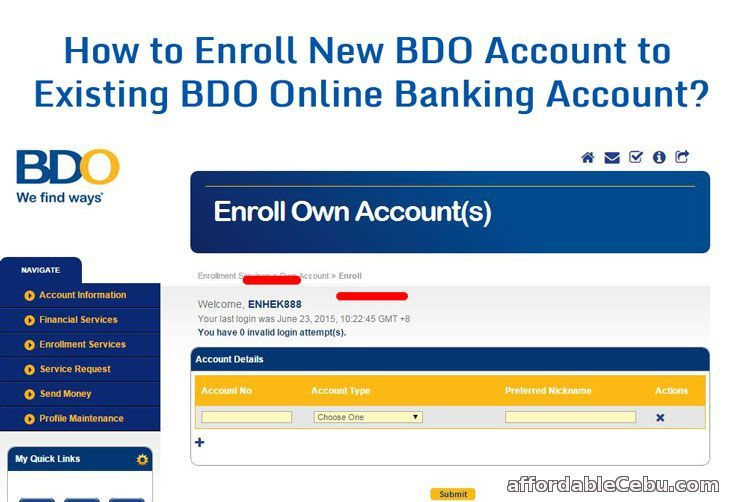 How To Enroll New Bdo Account To Existing Bdo Online Banking Account Online Banking Banking Accounting