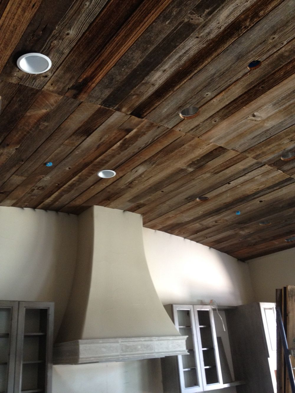 Reclaimed Barn Wood Used For Vaulted Kitchen Ceiling By California Cabinets  In Fresno, CA
