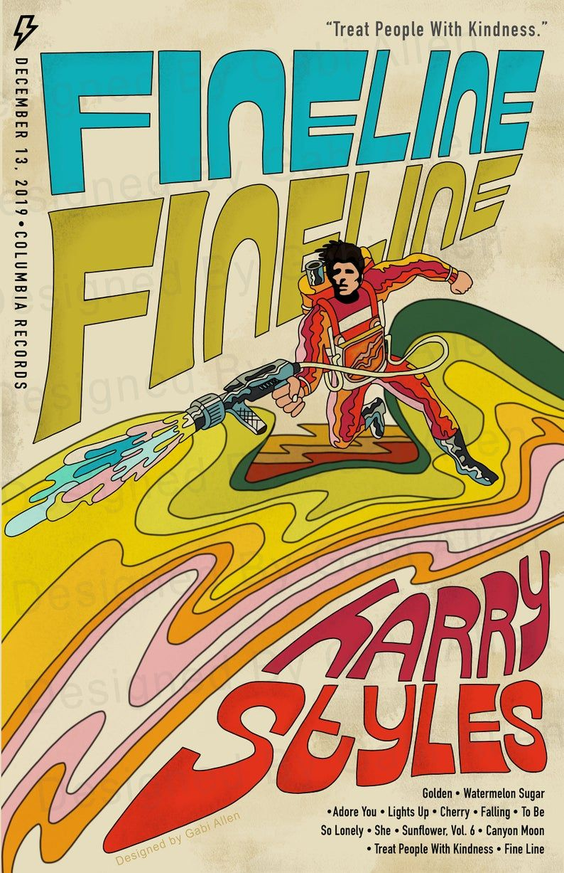 Read the full title Harry Styles Groovy Retro Print 'Fine Line' Digital Download Poster