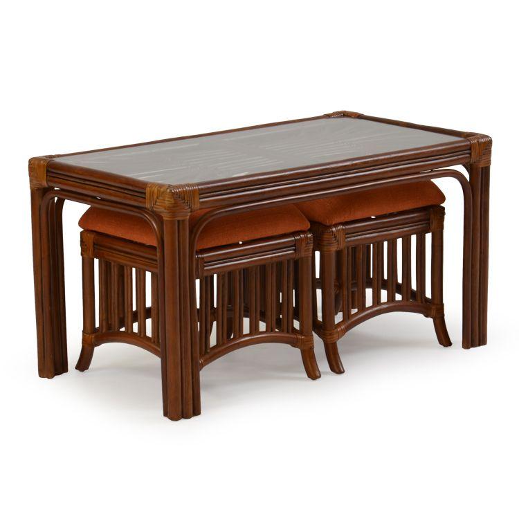 Islamorada Rattan Hassock Table U0026 Stools Pecan Glaze