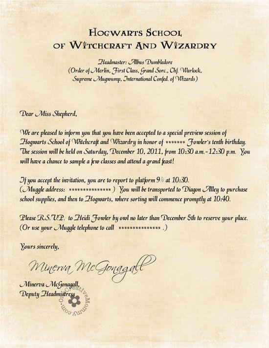 Hogwarts Acceptance Letter Template  Google Docs Templates  Pins