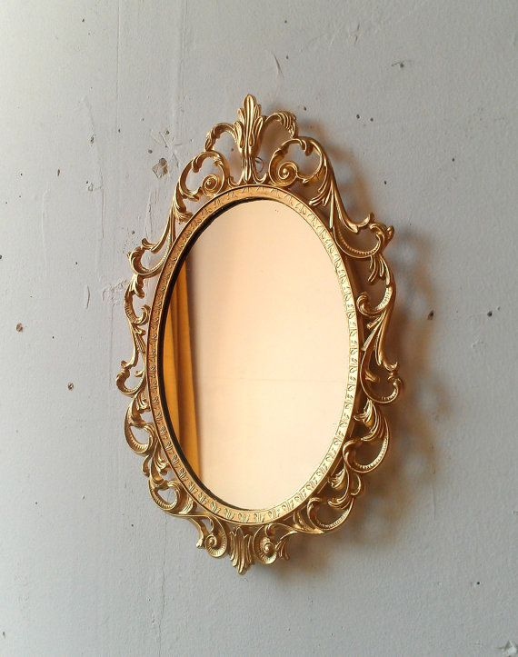 525e7d65ba2 Gold Princess Mirror in Ornate Vintage Oval Frame 10 by 7
