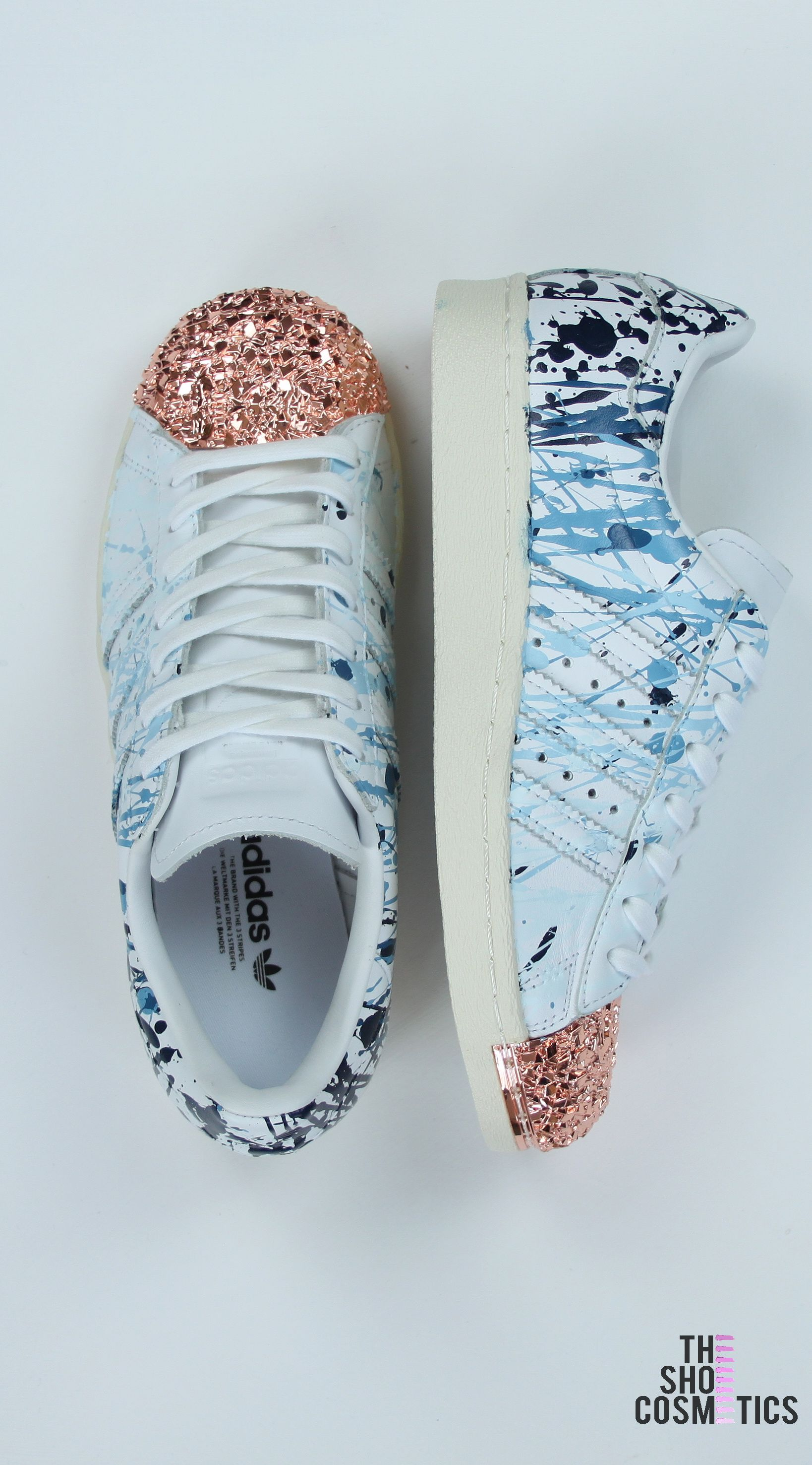 Looking for adidas rose gold shoes  Explore our custom adidas superstars in  this blue paint splatter effect.If you love rose gold adidas superstars  then our ... 449fb7dcec