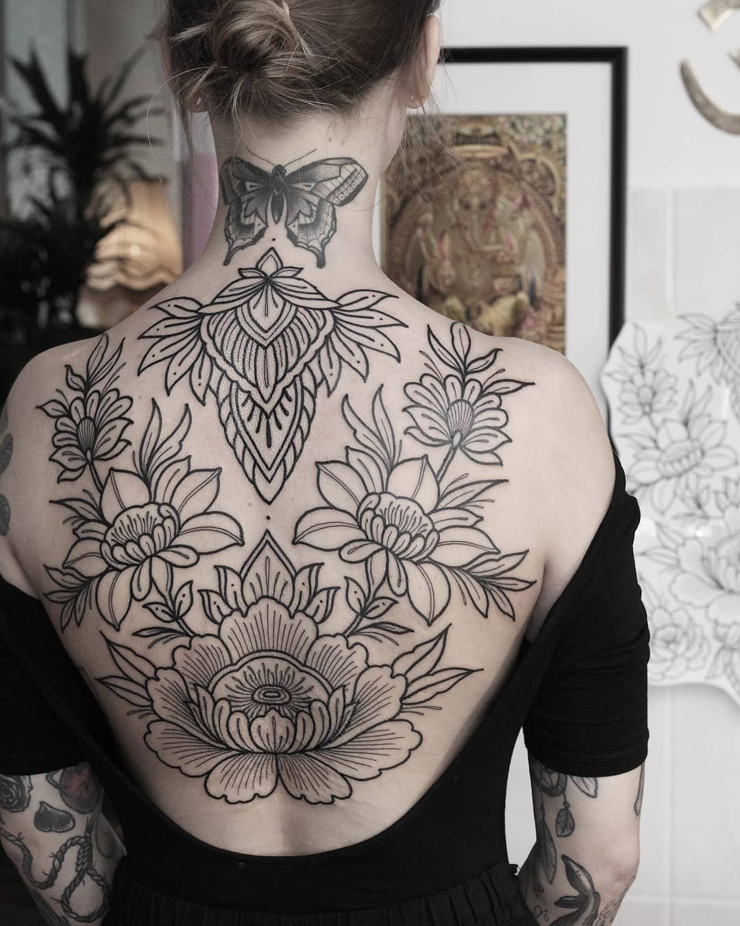 """Photo of Jule Rothe on Instagram: """"backpiece in progress 🌿 looking forward to finish this one 💫🙏 butterfly not by me 🙏…"""""""
