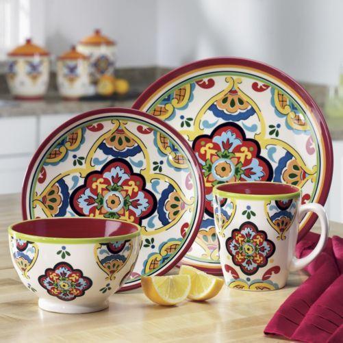 16 Piece Medallion Dinnerware Set Dinnerware Set Hand Painted Ceramics Dinnerware Tableware