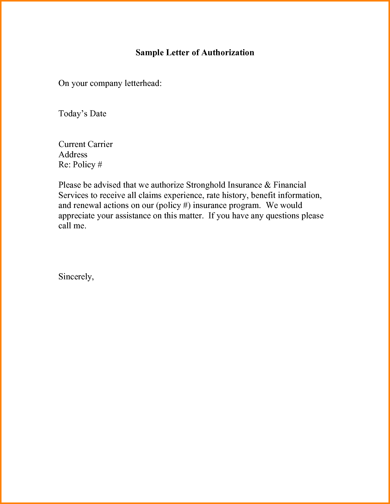 Sample Authorization Letter Memo Templates Format For