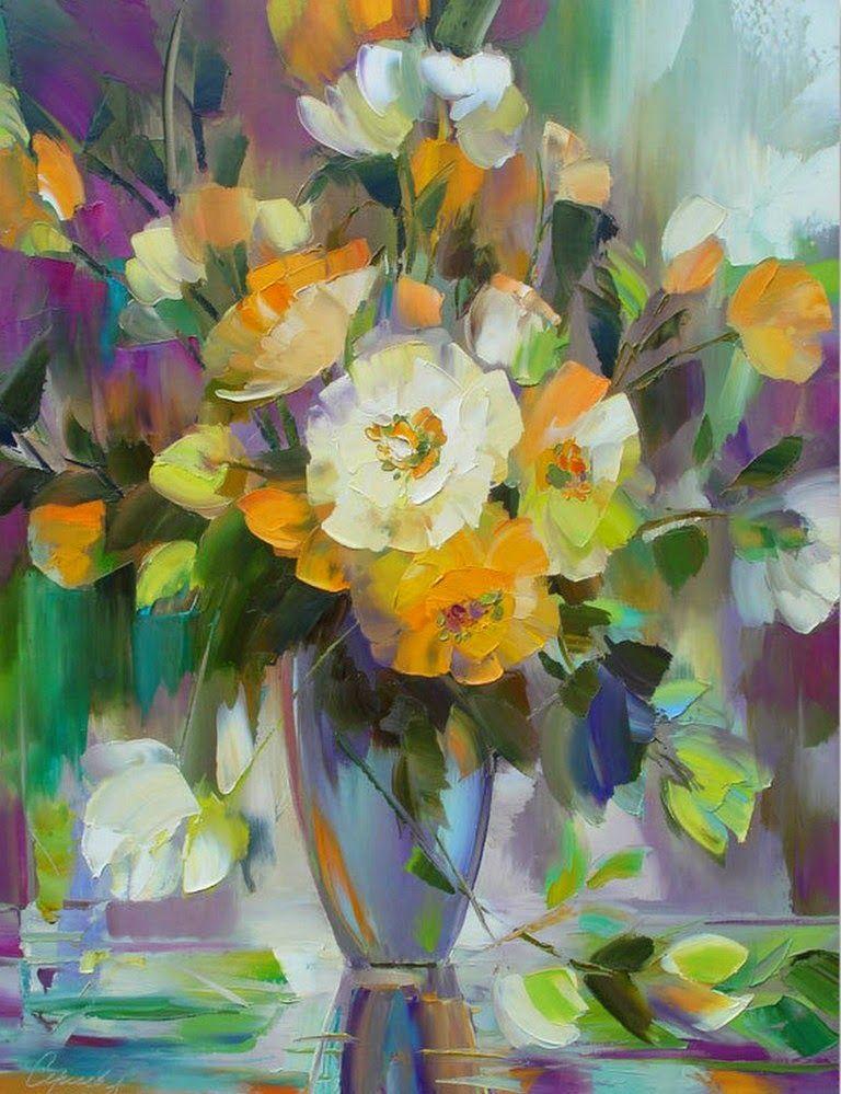 Pinturas decorativas de flores en oleo y espatula martwa for Plantas decorativas