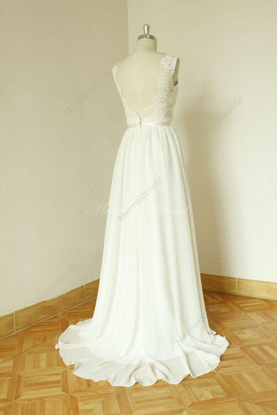 Backless chiffon lace wedding dress | Chiffon und Verlieben