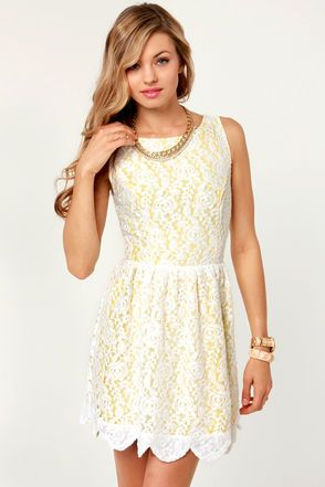 The Daisy D And Infused Yellow White Lace Dress Inspires More Beauty Than A Blossoming Bouquet Sleeveless With Back Cutout