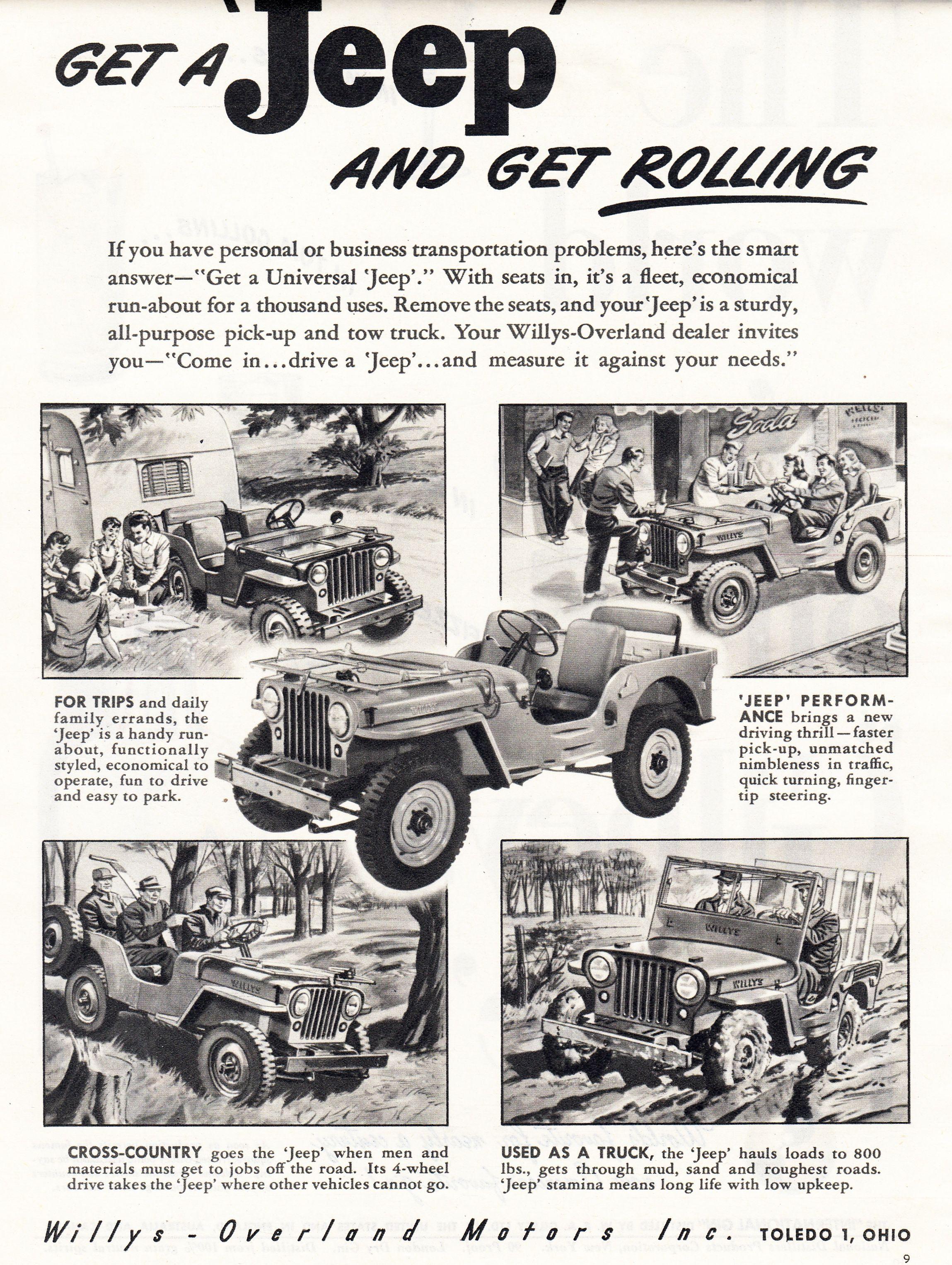 1946 Jeep Willys Overland Motors Inc Old Jeep Vintage Jeep