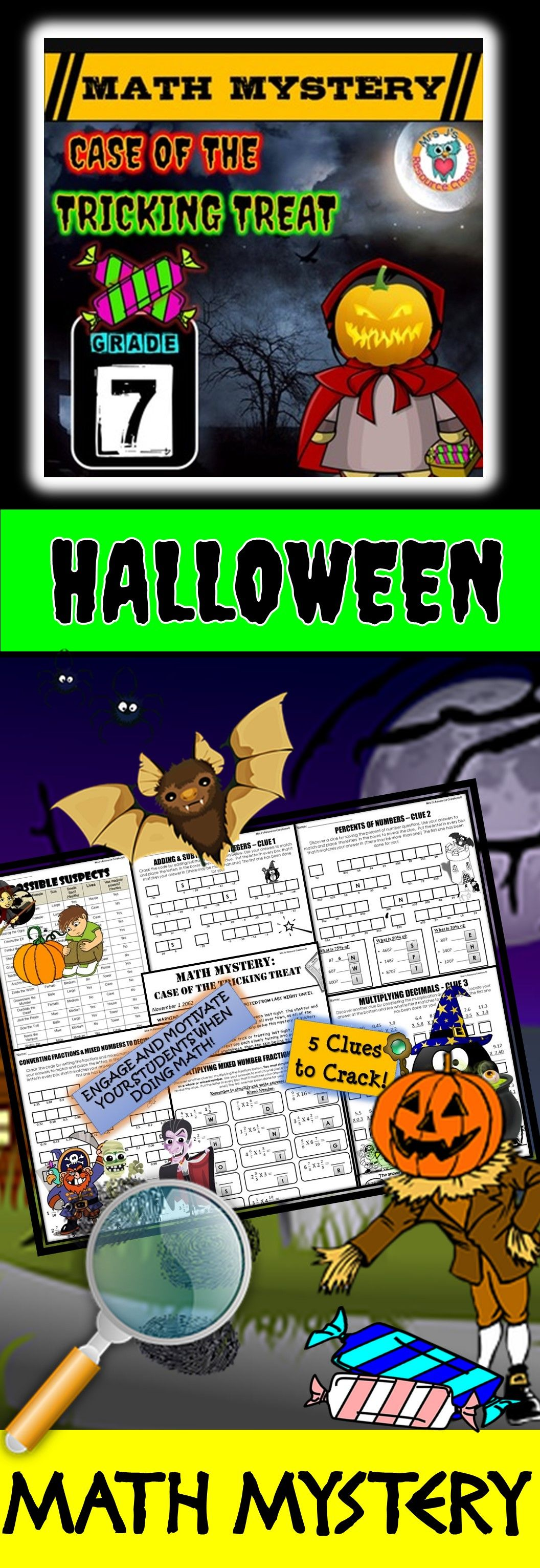 7th Grade Halloween Activity Halloween Math Mystery Tricking Treat