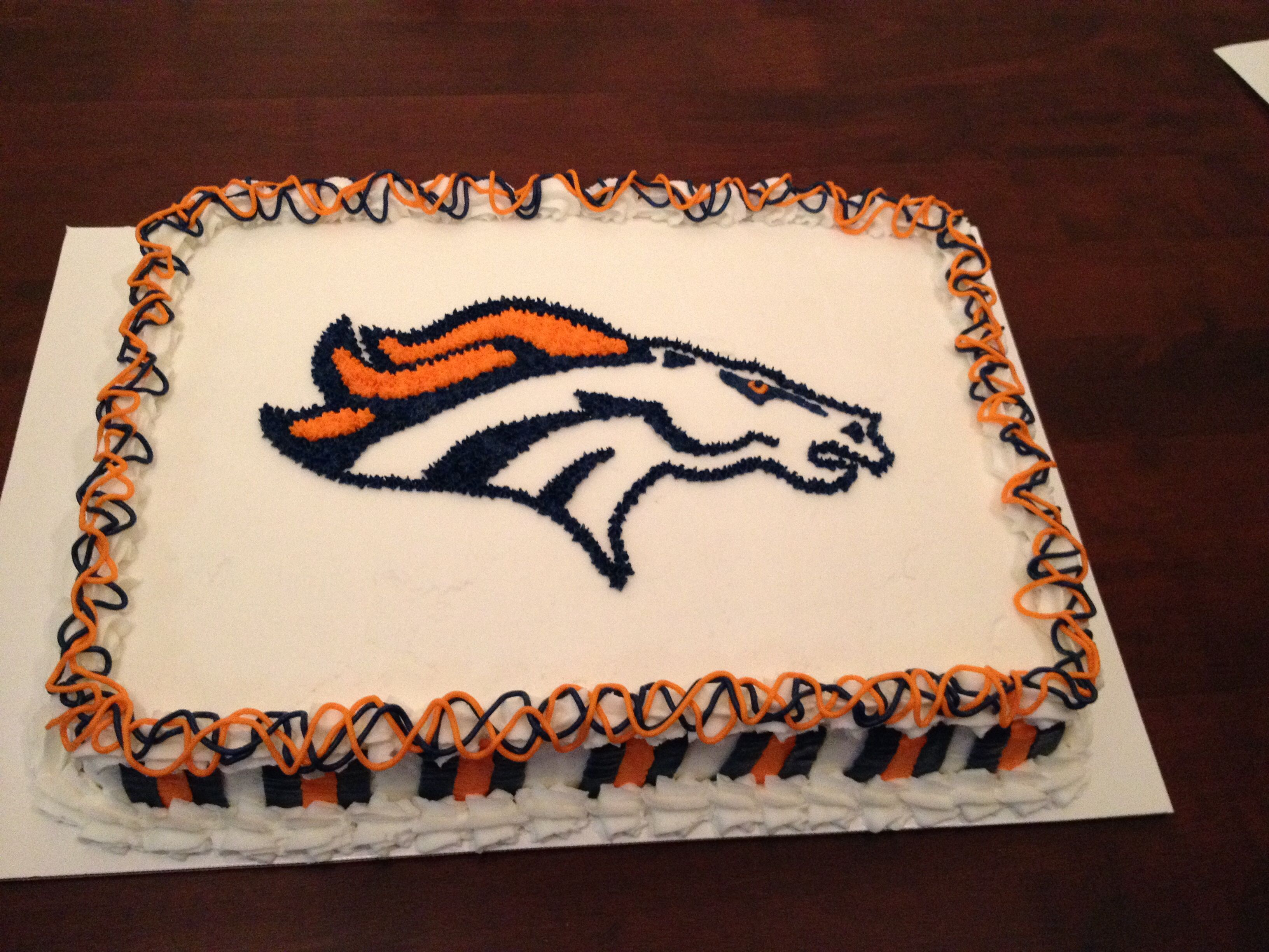 Denver Broncos cake Decorated cakes and cookies made by me