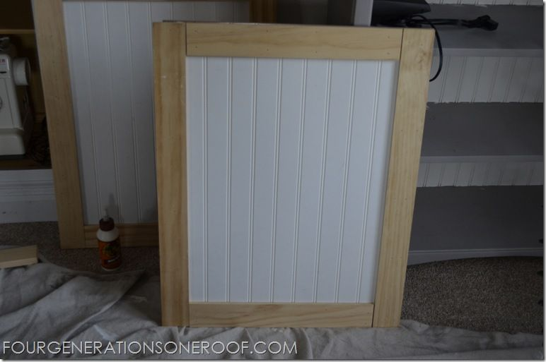 Diy built in barn doors tutorial kitchen cabinet doors barn mini barn door tutorial for built in bookcase four generations one roof planetlyrics Image collections