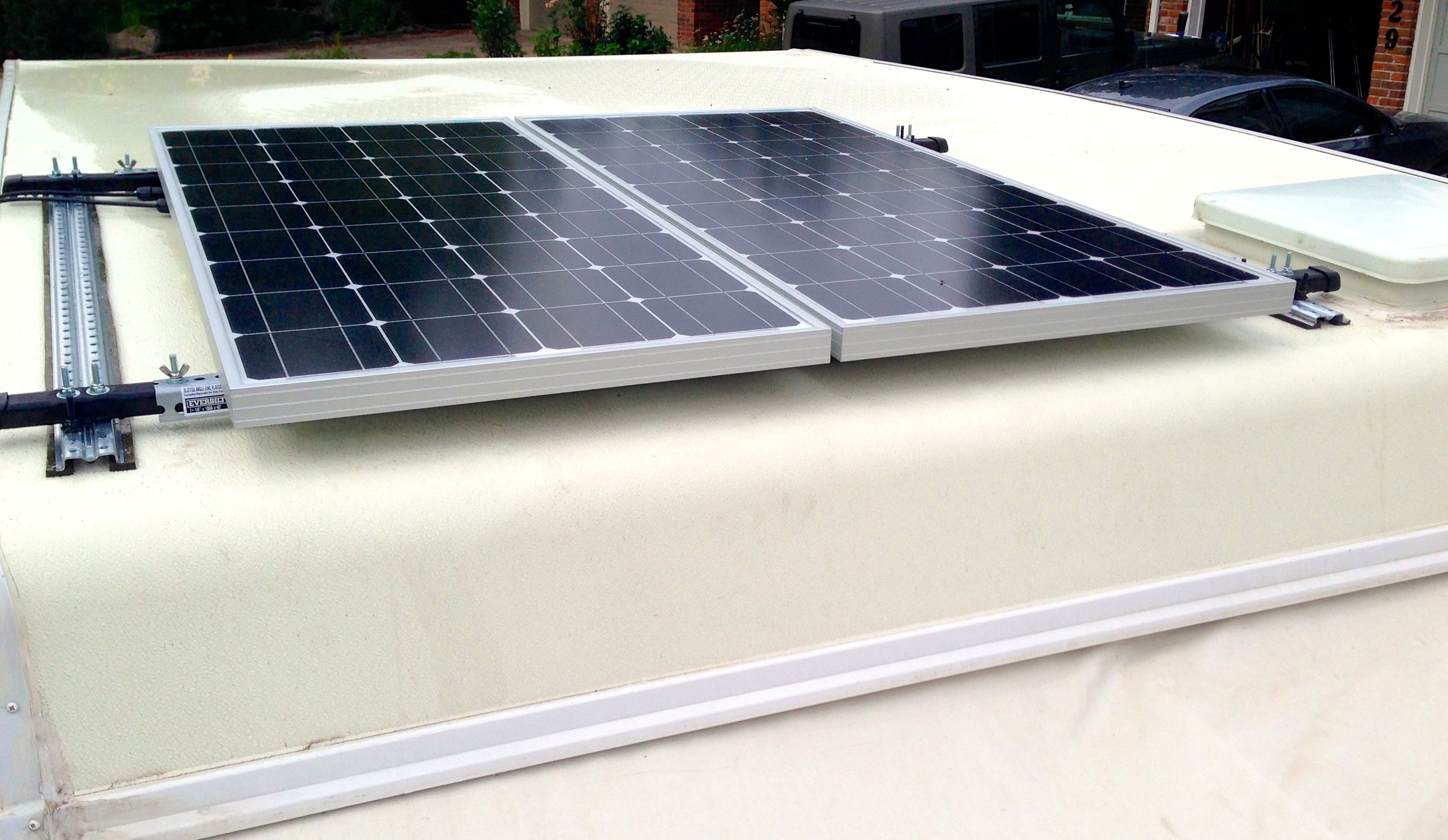 200 watts of solar panels on our pop up camper runs a cpap machine