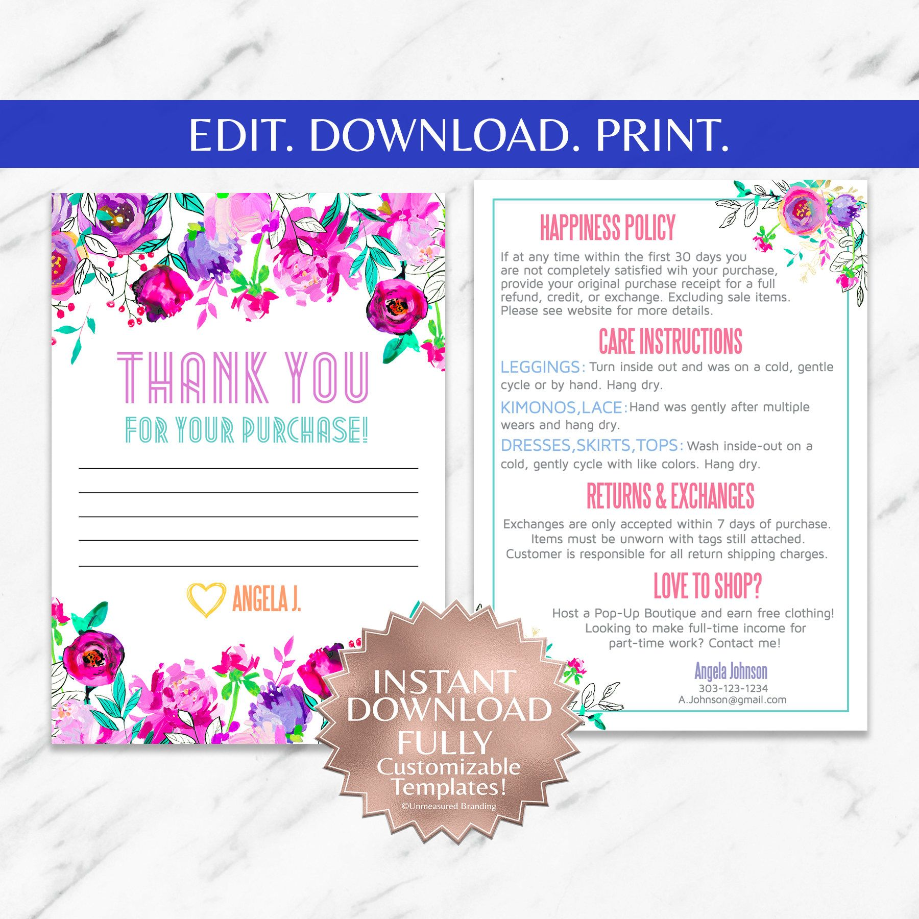 Instant Customizable Floral Fashion Consultant And Llr Thank You And Care Instruction Cards Templates Floral Fashion Branding Lace Kimono