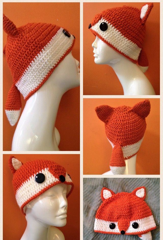 Adorable crochet fox beanie with tail! Get it at https://www.etsy.com/shop/AKnottyHabbit.