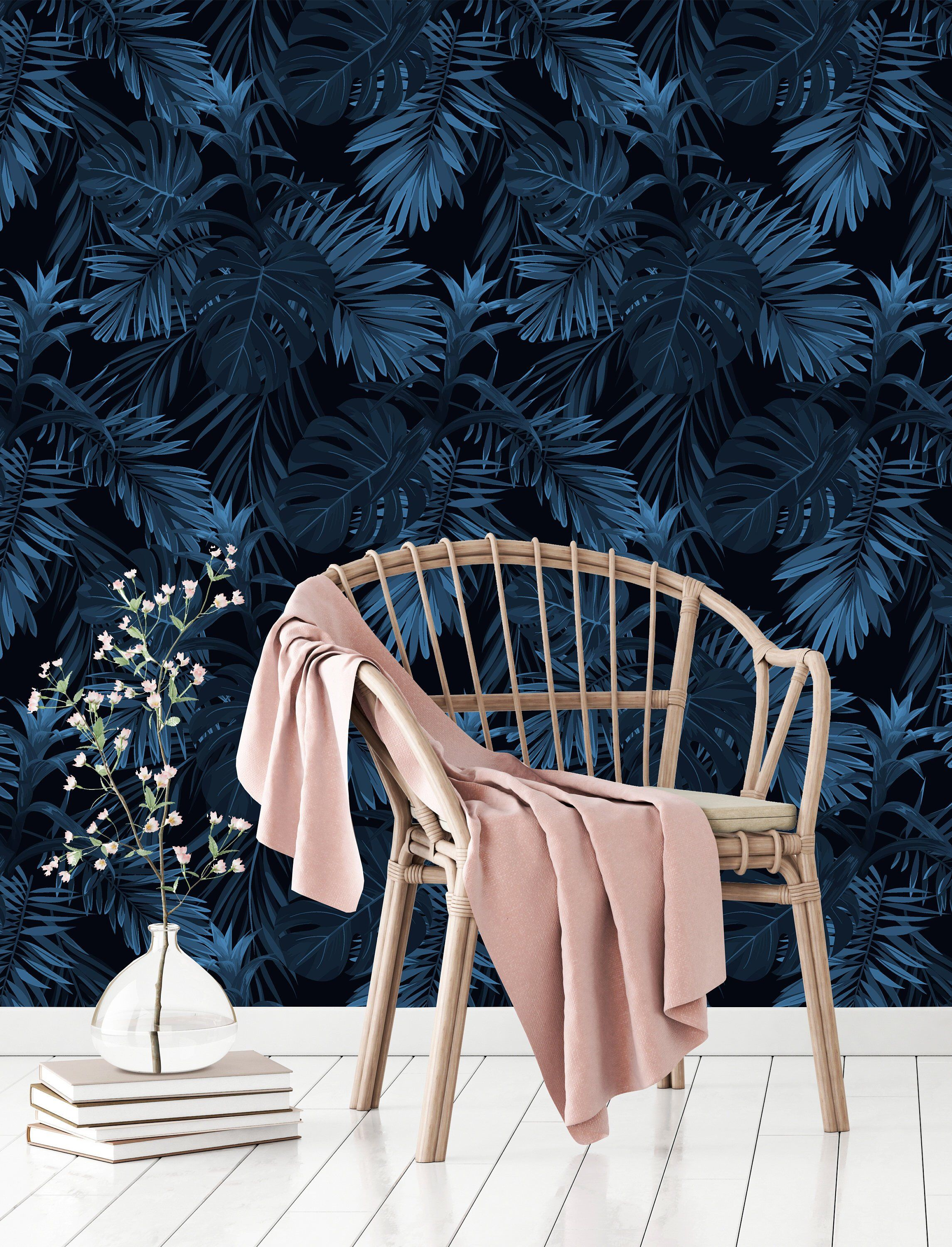 Blue Tropical Leaves Removable WallpaperPeel and Stick