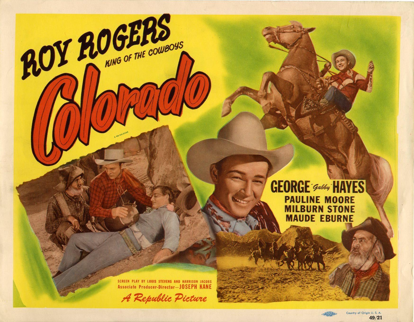 Colorado r1949 title lobby card roy rogers gabby