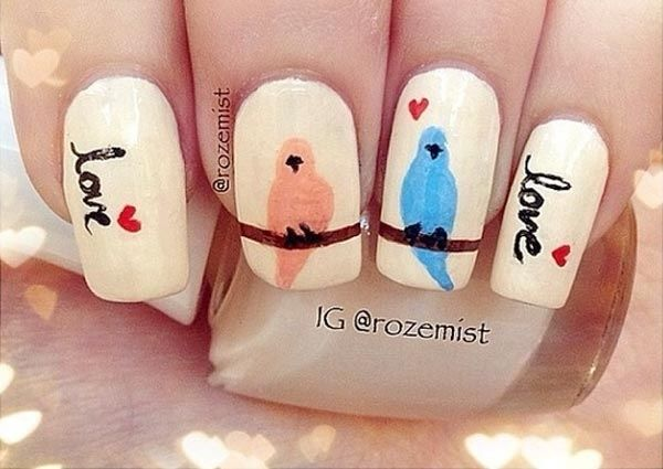 I'm not a fan of nail art, but I would definitely rock these little birdies! - 7 Cute Nail Designs For You Pinterest Bird, Fans And Rock