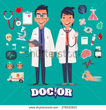 Doctor character man and women design with Medical Icons Set. medicine background with medical, health, healthcare, doctor. Design elements for infographic. typographic - vector illustration - stock vector