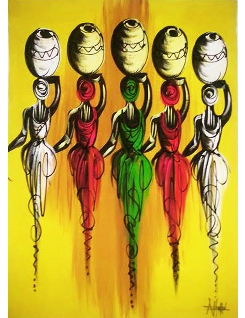 African women carrying pot painting | Kipfashion | Pinterest ...