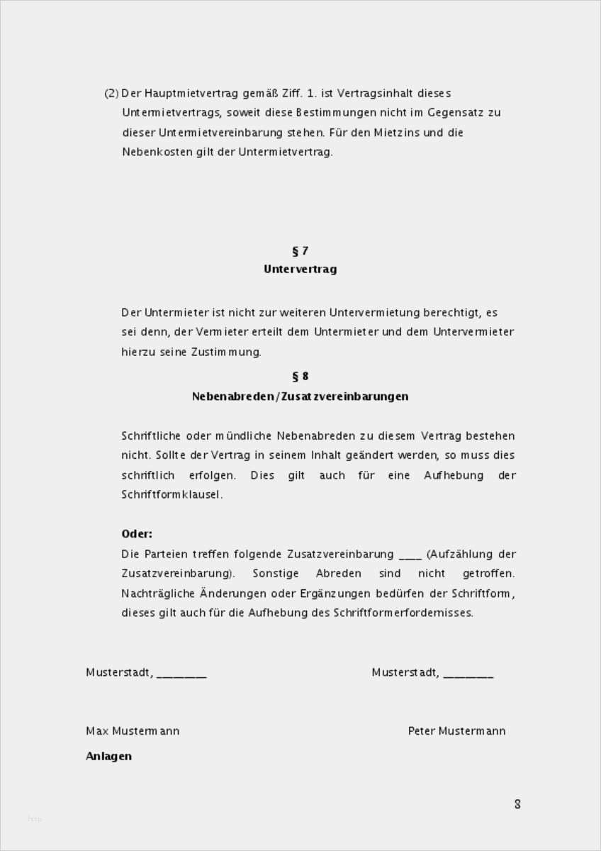 Mietvertrag A Ber Eine Wohnung Muster 10