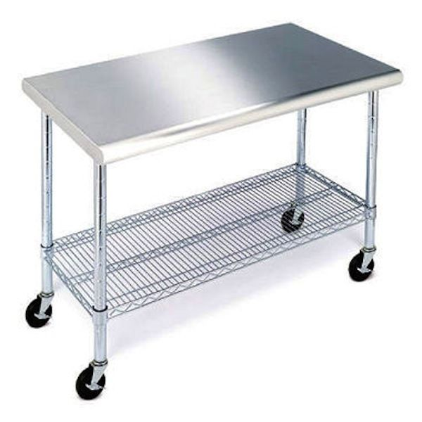 Work Table Stainless Steel Top 49 Heavy Duty Rolling Adjustable Shelf Cart New Stainless Steel Work Table Stainless Steel Kitchen Island Stainless Steel Table