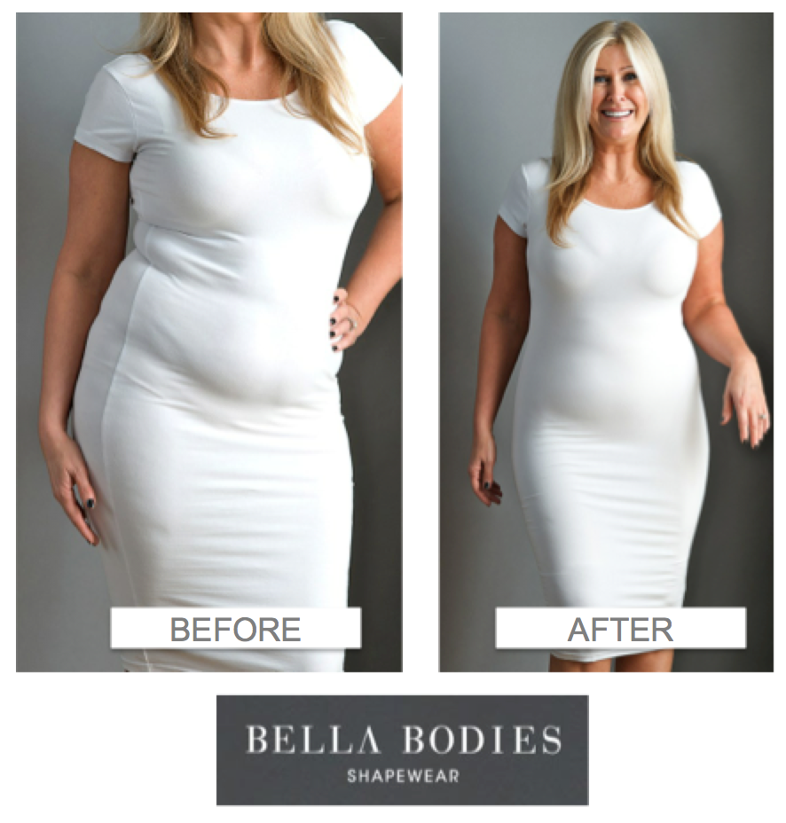 A bella bodies before and after how cool it that the for Plus size spanx for wedding dress