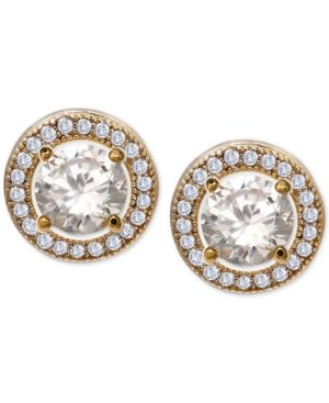 c9cb81655fd7f7 Giani Bernini Cubic Zirconia Halo Stud Earrings in 18k Gold-Plated Sterling  Silver, Only at Macy's - Gold