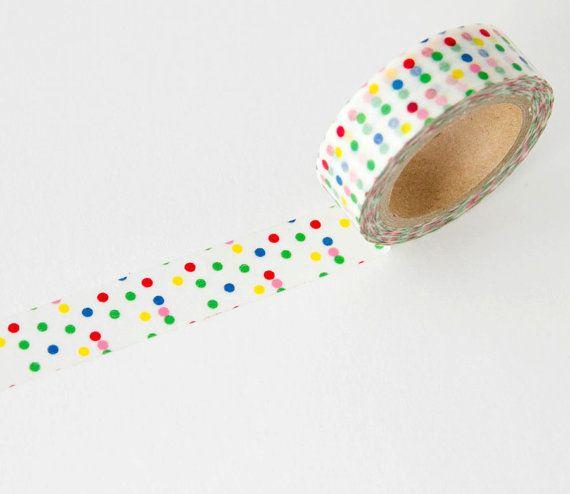 Rainbow Dots Washi Tape by Maigocute on Etsy,