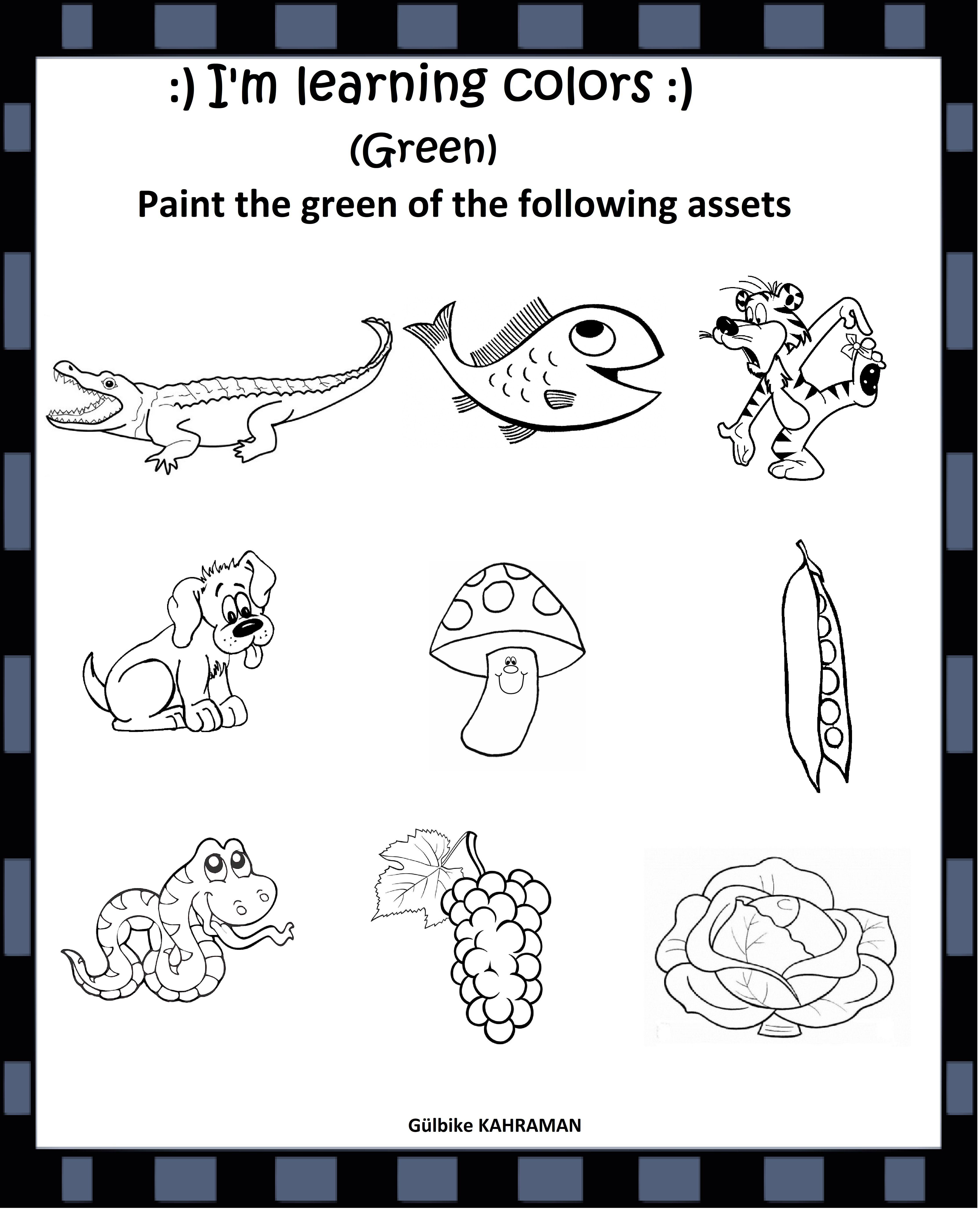 Kindergarten Worksheets Color Green