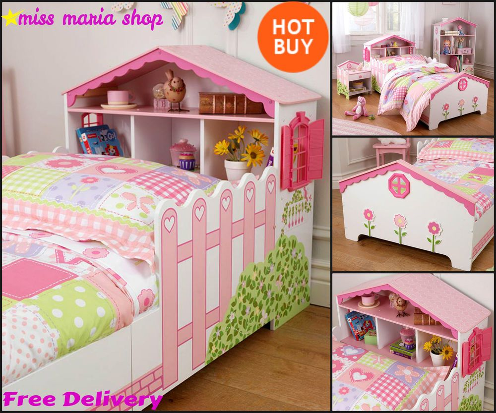 Girls Pink Single Bed Dollhouse Storage Toddler Kids Bedroom